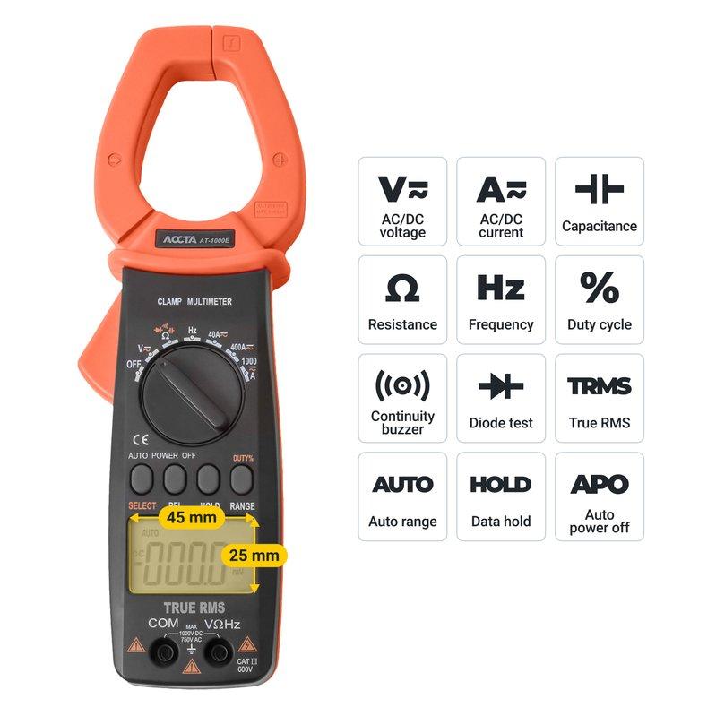 Струмовимірювальні кліщі Accta AT-1000E Зображення 3